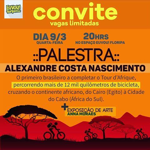 Convite  Palestra Com Alexandre Costa (tour D'afrique)