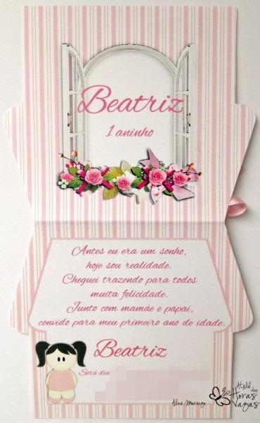 Convite Casinha De Boneca Floral Rosa