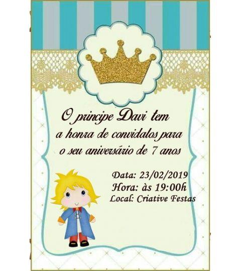 30 Convites Pequeno Príncipe Personalizado