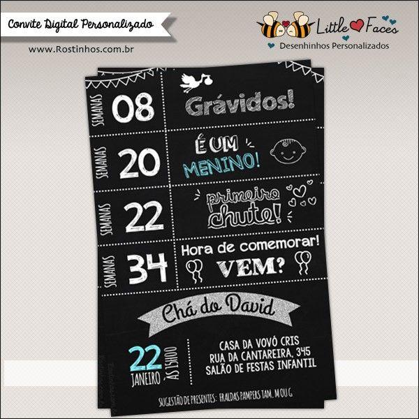 Convite Chá De Bebê Chalkboard Lousa Digital