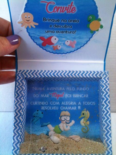 Convite Caixa Moldura Tema Fundo Do Mar