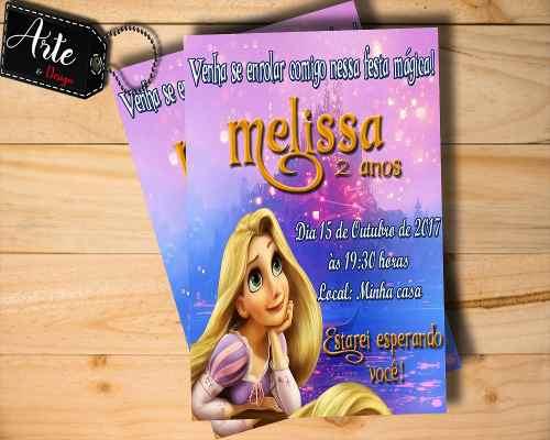 40 Convites Personalizados Rapunzel Enrolados M03