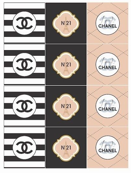 Chanel  Free Printable Toppers, Stickers, Bottle Caps Or Labels
