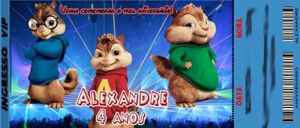50 Convite Ingresso Aniversário Alvin E Os Esquilos 48hrs