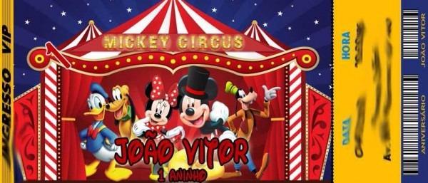50 Convite Ingresso Circo Do Mickey Mouse Aniversário