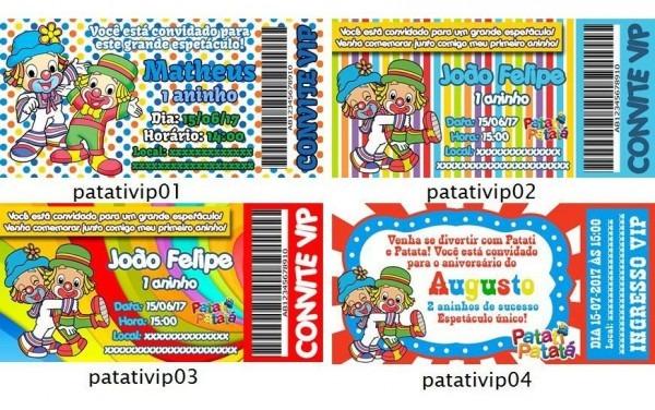 50 Convites Aniversário Infantil Vip Patati Patata Ingresso