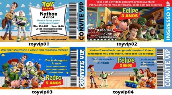 50 Convites Ingresso Aniversário Vip Toy Story Pixar Buzz