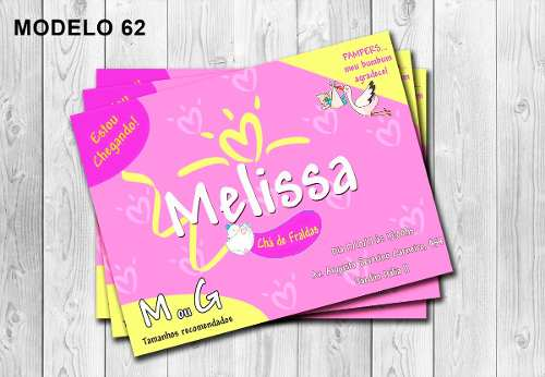 50 Convites Pampers Personalizados 10x15cm