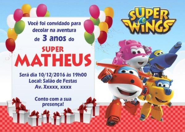50 Convites Super Wings 10x7 Cm Aniversário Menino Ou Menina