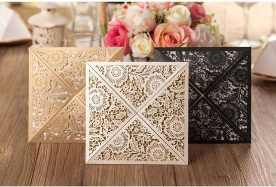 Compre Ouro Branco Preto Design Rústico Casamento Convite De
