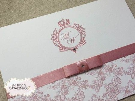Convite Clássico Rosé Chic, Convite De Casamento Elegante, Convite