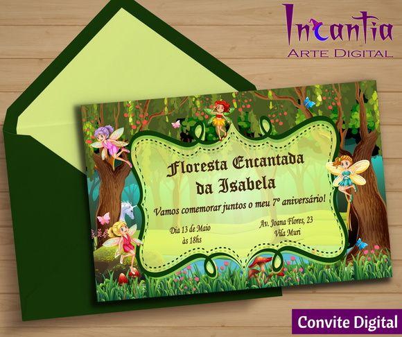 Arte Digital Convite Floresta Encantada Das Fadas