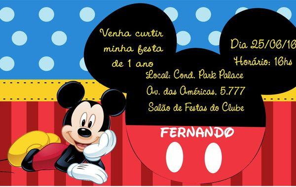 Convite Digital Mickey Mouse No Elo7