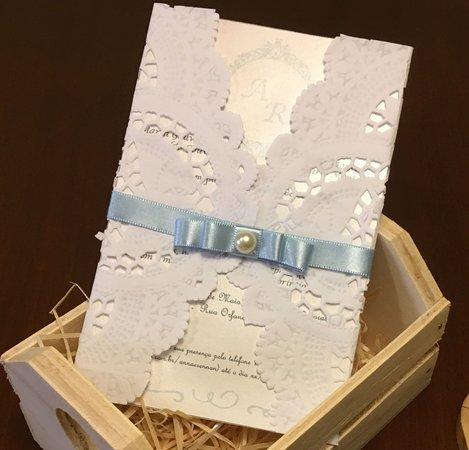 Convite Doilie Azul