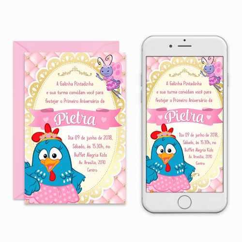 Convite Digital Galinha Pintadinha Rosa Virtual Imprimir à Venda