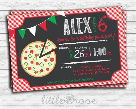 Pizza Party Birthday Party Invitation Kids Birthday Invite Diy