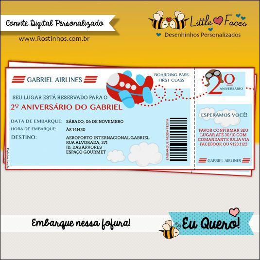 Convite Festa Tema Avião Digital  Em Formato De Cartão De Embarque