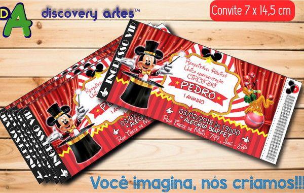 Convite Ingresso Circo Do Mickey No Elo7