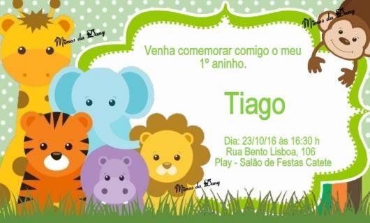 Convites Safari Baby Colorido