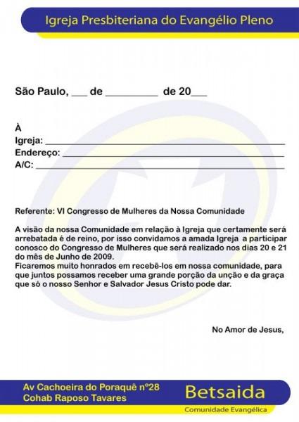 Carta Convite Para Outras Igrejas