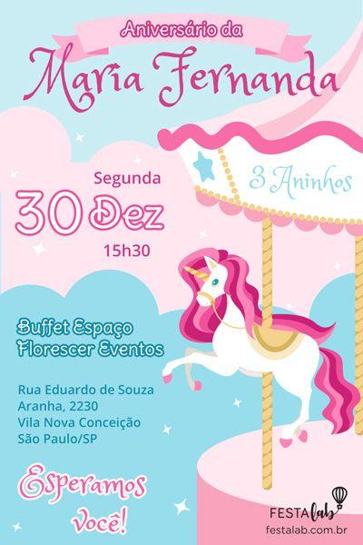 Convite De Aniversário Infantil Carrossel Encantado