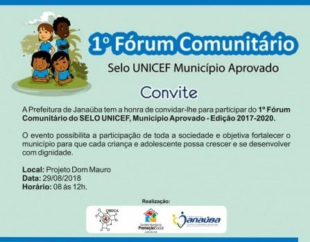 Convite  1º FÓrum ComunitÁrio Do Selo Unicef