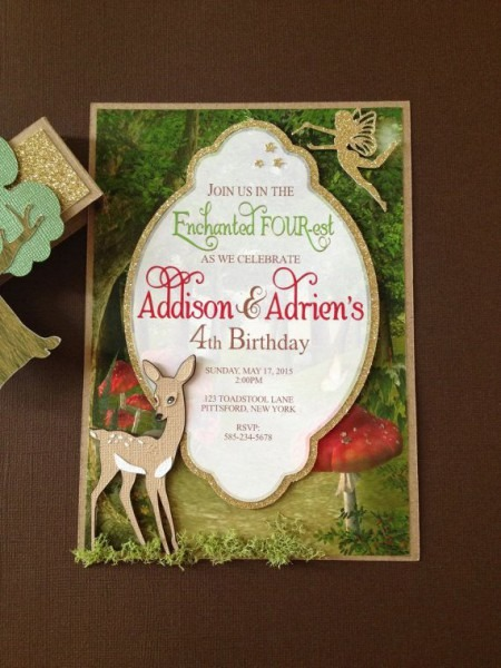 Enchanted Forest Woodland Theme Invitation, Handmade Layered