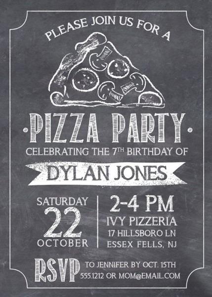 Pizza Party, Pizza Invitation, Kids Pizza Party, Pizza Birthday