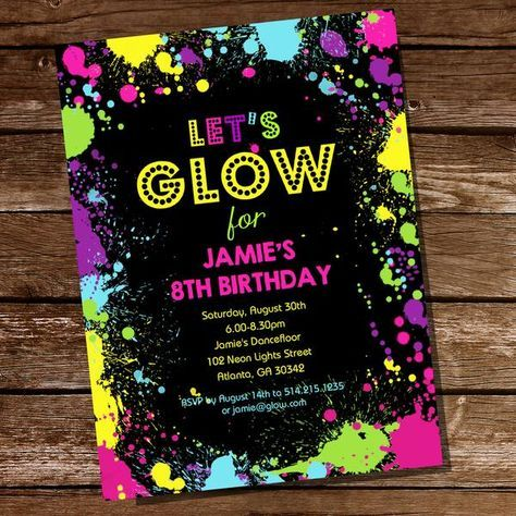 Let's Glow Neon Party Invitation