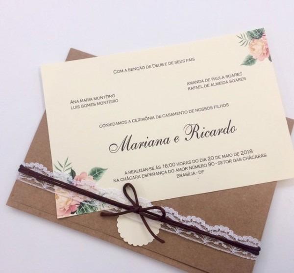 Convite Envelope Rústico
