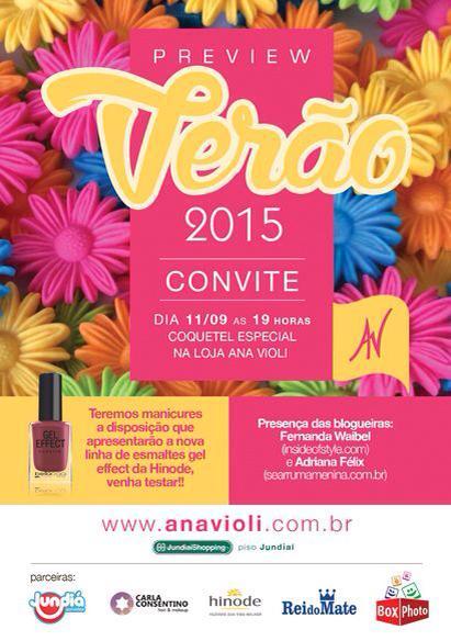 Convite  Coquetel Especial Preview Verão15 Na Loja Ana Violi – Se