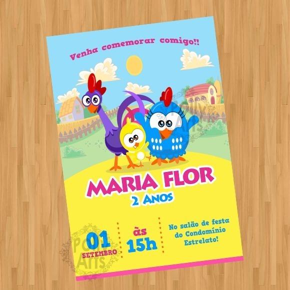 Arte Convite Digital Virtual Galinha Pintadinha Mini Menina