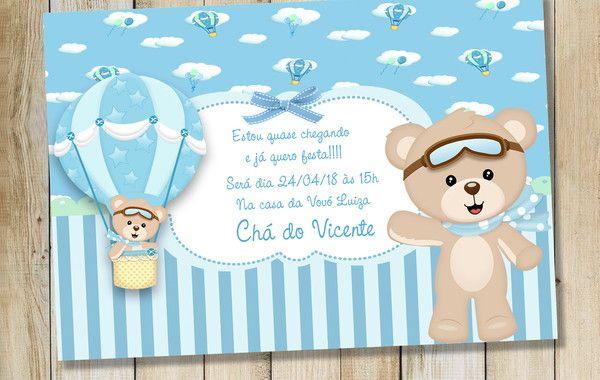 Convite Digital Urso Baloeiro No Elo7