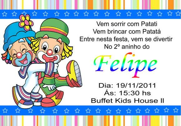 Convite Do Patati Patata – Convite Infantil