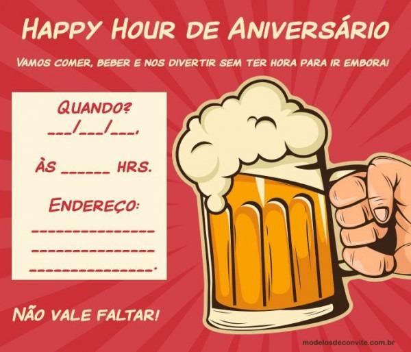 20 Convites Para Happy Hour De Aniversário