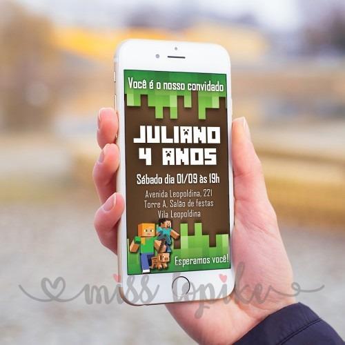 Convite Digital Minecraft Aniversário Infantil Whatsapp Mod1