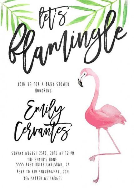 Flamingo Party Invitation Baby Shower, Tropical, Watercolor