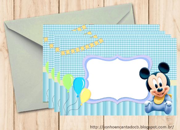 Convite De Aniversário Mickey Baby Para Imprimir E Editar Grátis