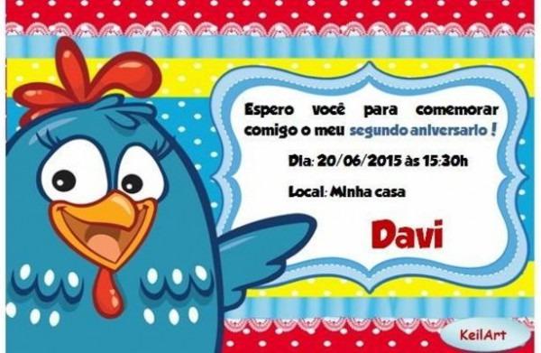 Convite AniversÁrio Galinha Pintadinha