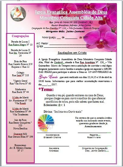 Shelly Designer  Carta Convite Igreja Grupo De Irmãs