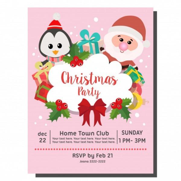 Cartão De Convite De Festa De Natal Pinguim De Santa