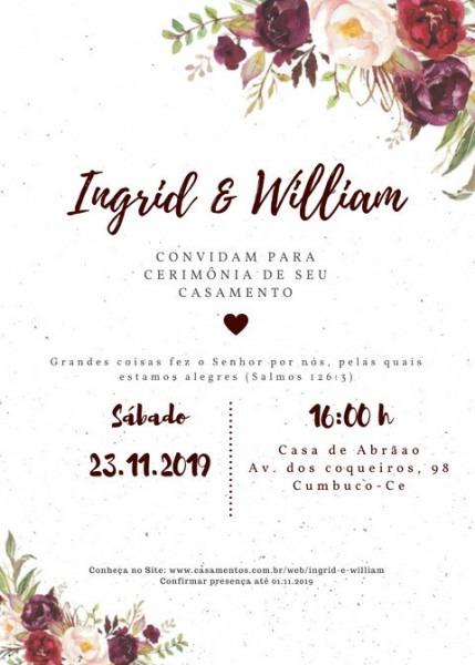 Convite De Casamento Feito Por Mim No Site  Canva