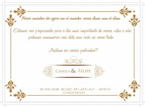 Texto  Convite Dos Padrinhos