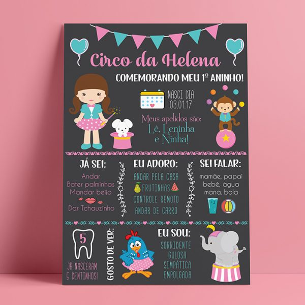 Chalkboard Digital Circo Rosa Menina – Convite Digital • Miss Lopike