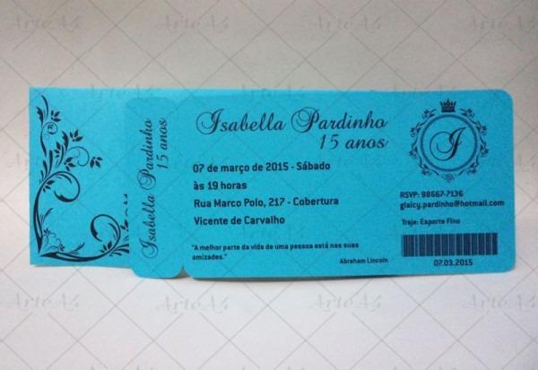 Convite 15 Anos Ticket Envelope Impresso No Elo7