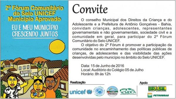 2º Fórum Comunitário Do Selo Unicef Vai Acontecer Em Antonio