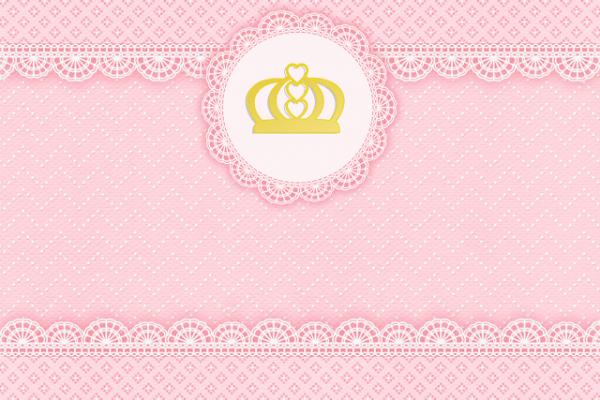 Convite Realeza Rosa Para Imprimir