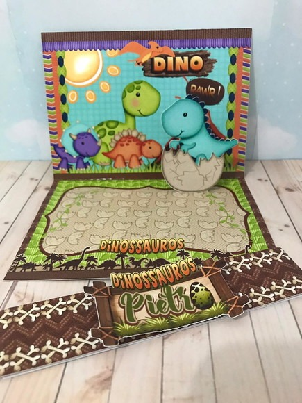 Convite 3d Dinossauro Cute