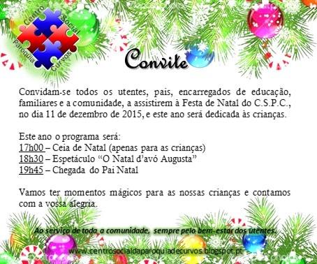 Convite Para A Festa De Natal 2015