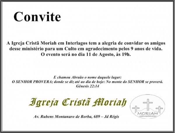 Igreja Cristã Moriah Interlagos  Culto Especial